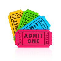 [four coloured admission tickets]